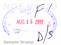 Passport Stamp with F1 notation and duration of status notation