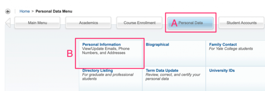 Select personal data then select personal information