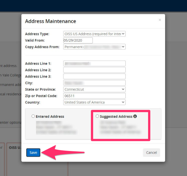 The system will validate your address and provide a suggested one. If it is correct, select it.