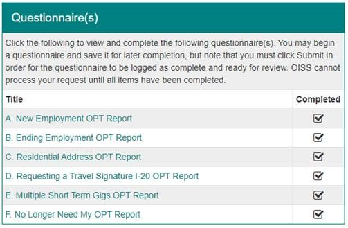 OPT Update with all questionnaires completed
