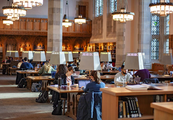 Students studying in Starr Reading Room