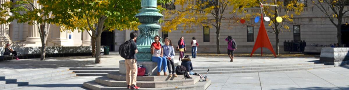 Students at Beineke Plaza