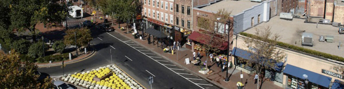 Aerial view of broadway street on Yale campus