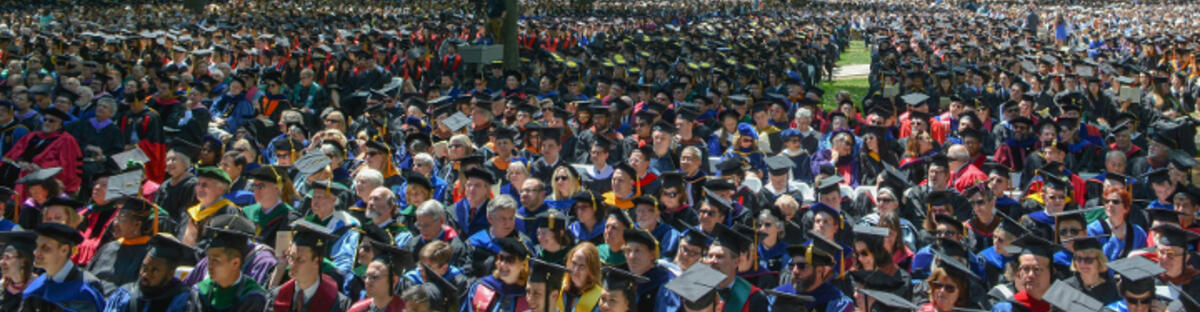 Overhead of a crowd of students at commencement