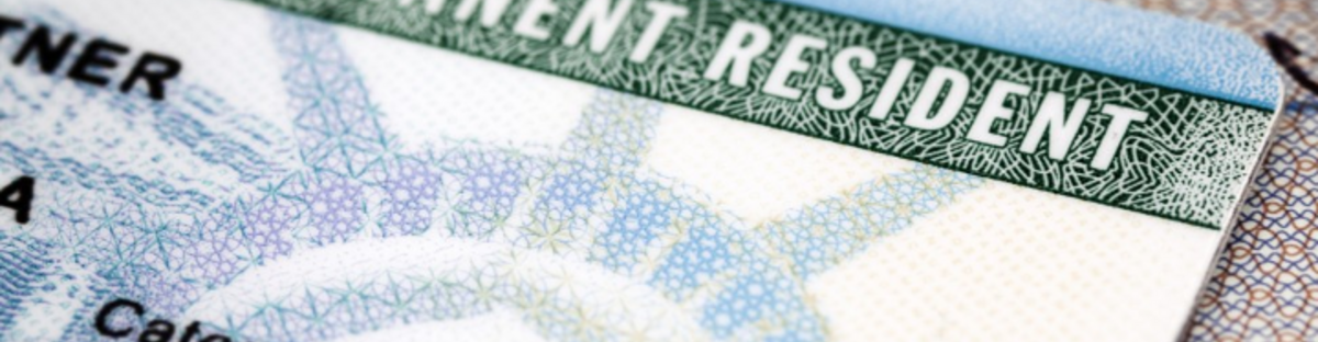 Picture of part of a US green card