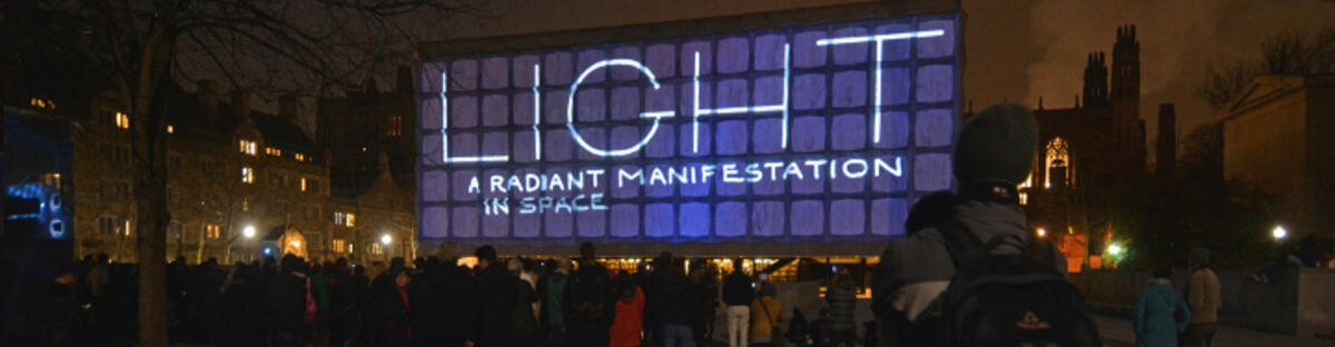 Digital display that reads: Light, a radiant manifestation in space