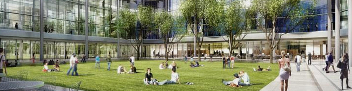 Yale SOM courtyard with students sitting on grass and walking around