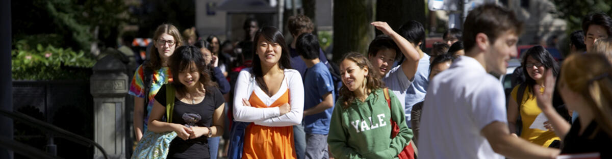 Students walking down the street