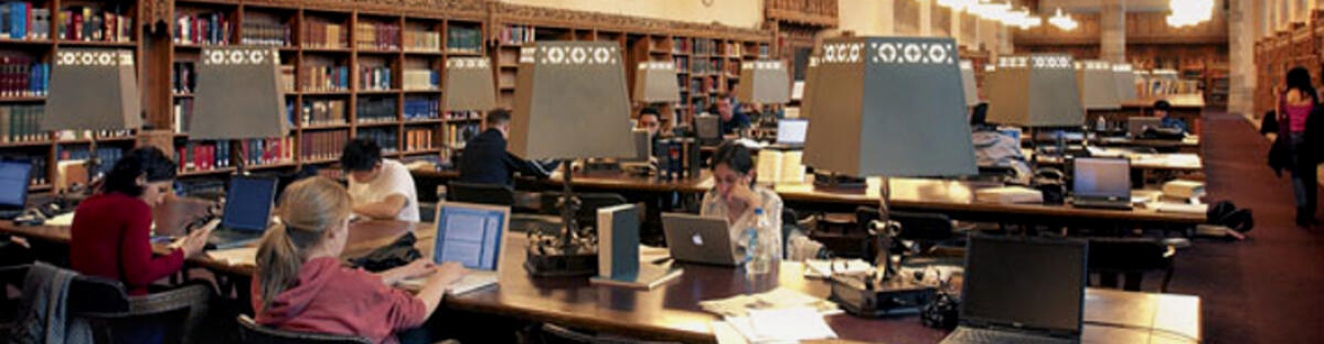 Students studying at rows of library desks