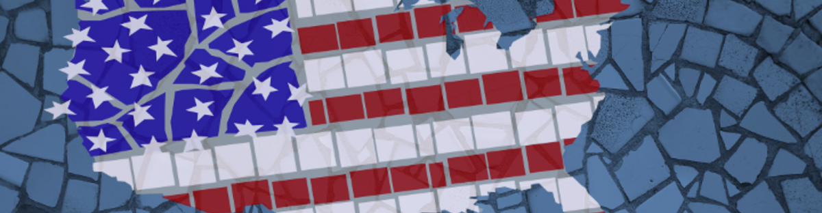 Mosaic of the US flag forming the shape of the continental United States