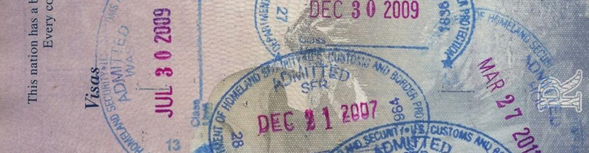 Different Visa stamps in a passport